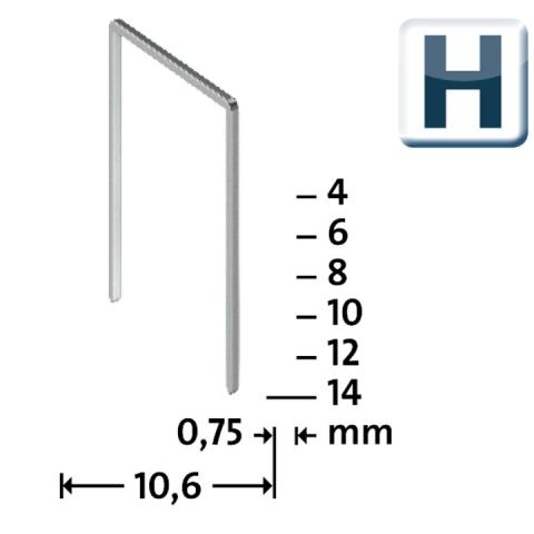 Modéle H 37/6 mm extra-dur zinguée 2000 pcs 2000 p.