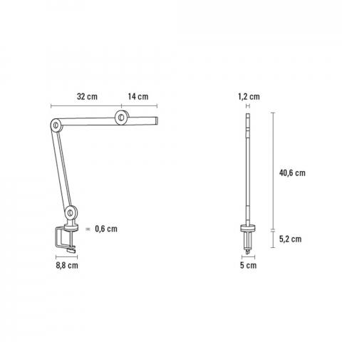 La lampe de table à pince MOOOVE 40,6 cm